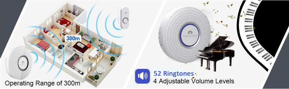 2 mydome mddc1 ring doorbell operating range and volume levels