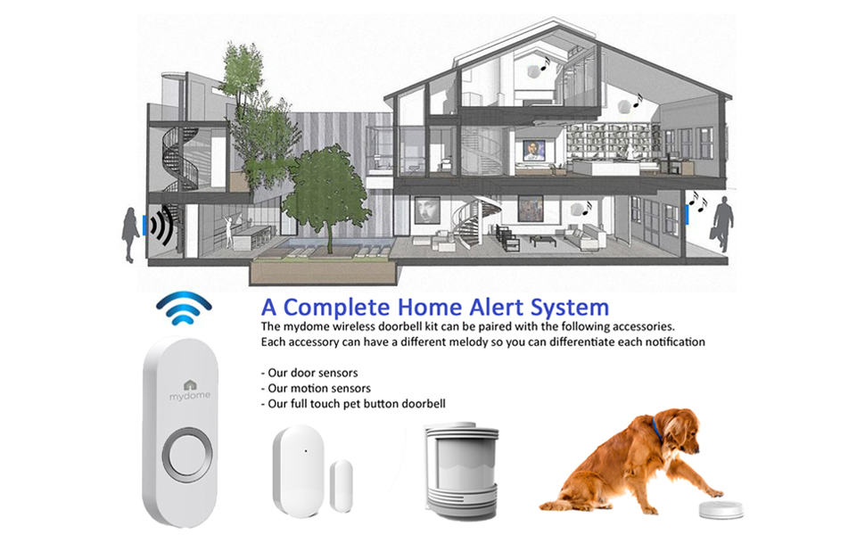 5 mydome mddc1 complete home alert system for doorbell kit with door and motion sensors